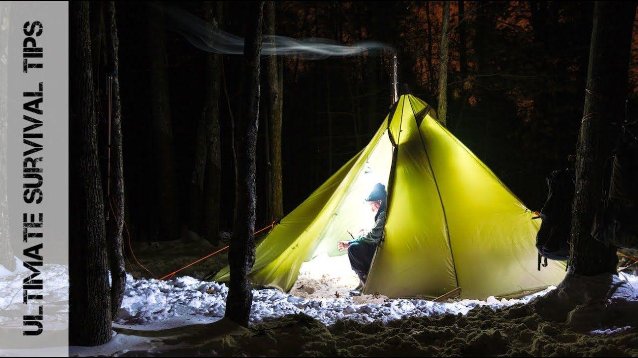 Winter Camping in UltraLight Hot Tent (Tipi) + MSK-1 ...