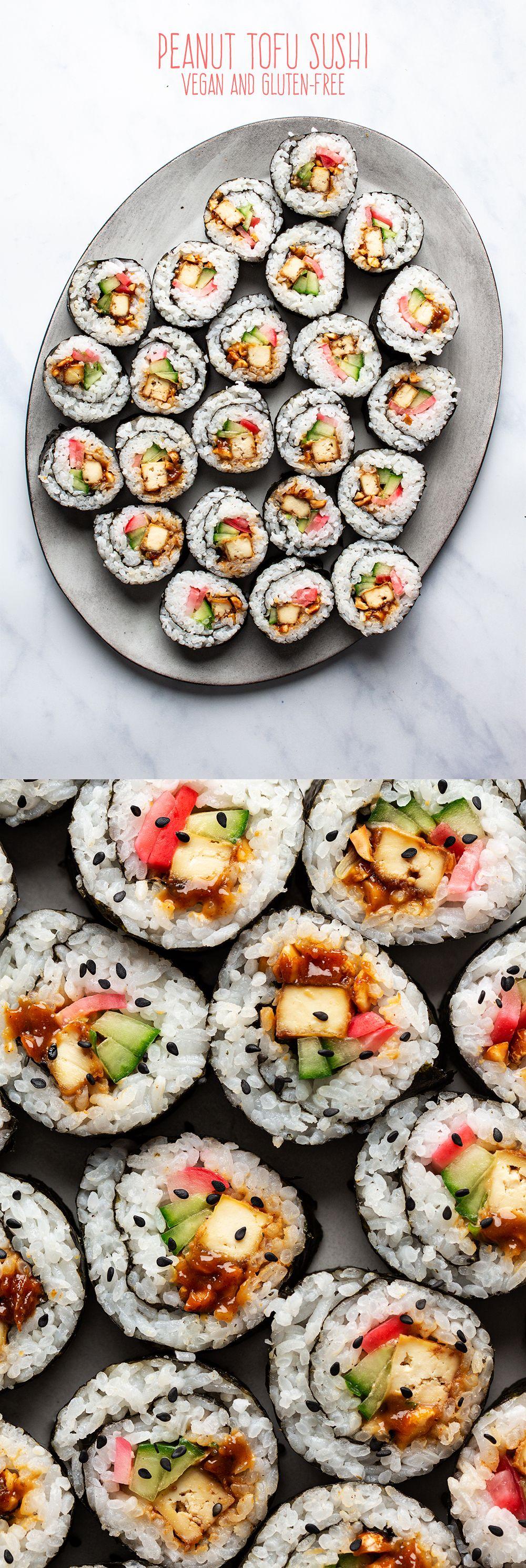 Peanut tofu sushi
