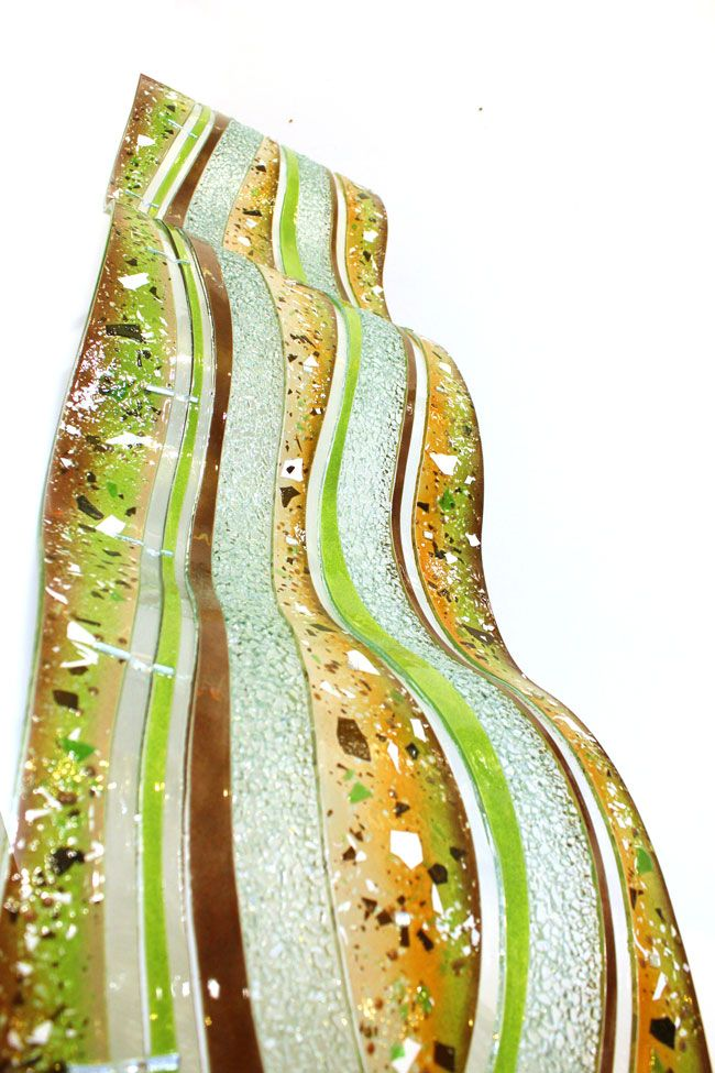 New Glass Art Wiggles Section | Linear Glass Art | Fused Glass Wall ...