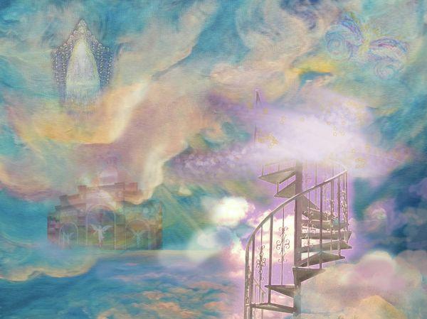 Stairway to Heaven by Anne Cameron Cutri   Heaven painting, Akiane kramarik paintings, Angel painting