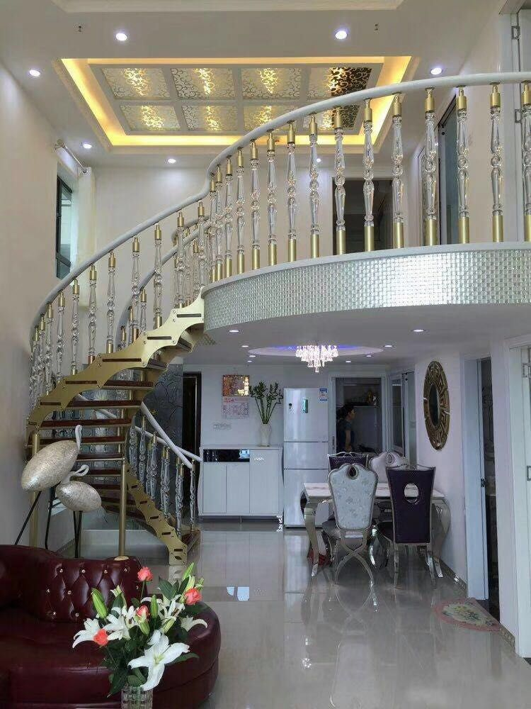 Best Duplex House Of Interior Stairs Acrylic White Handrail And 640 x 480