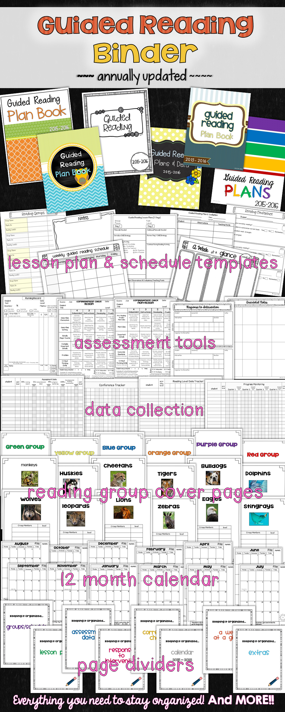 Guided Reading Plan Book - stay organized with your guided reading plans, data collection, schedules & more!