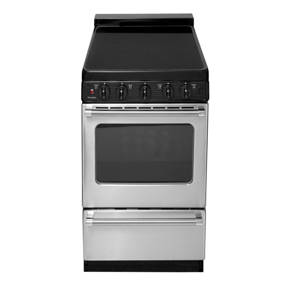 Premier 20 In 2 42 Cu Ft Freestanding Smooth Top Electric Range In Stainless Steel Eas7x0bp Freestanding Electric Ranges Electric Range Free Standing
