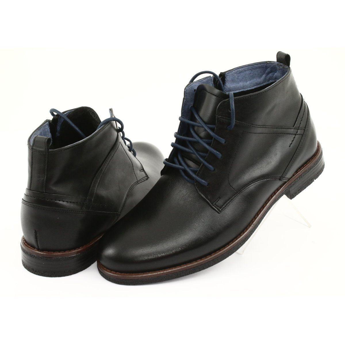 Trzewiki Skorzane Na Suwak Nikopol 702 Czarne Zipper Boots Chelsea Boots Men Dress Shoes Men