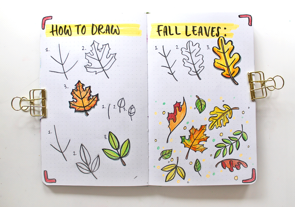 Draw Fall Leaves And Make A Cute Autumn Illustration Flower Drawing Leaf Drawing Autumn Illustration