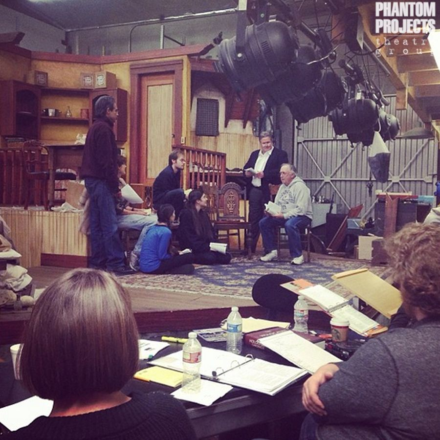 """Rehearsals for """"The Diary of Anne Frank"""" are in full swing! With five different levels, that beautiful set in the background is the biggest one Phantom Projects has ever had!"""