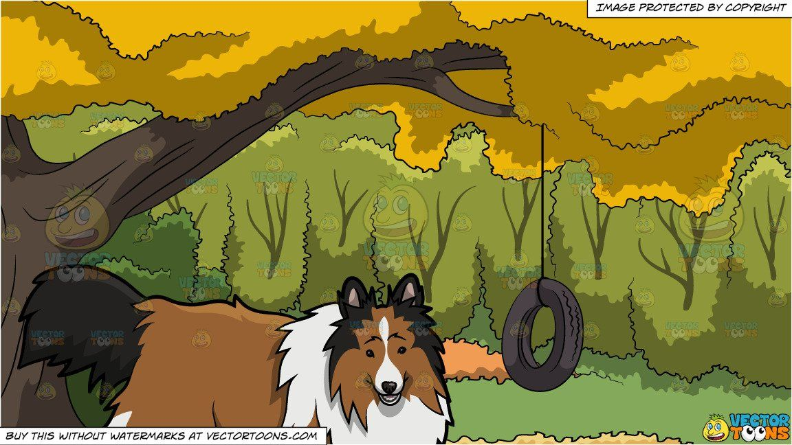 Vendor: vectortoon Type: Clipart Price: 20.00  Source Clipart  A Playful Shetland Sheep Dog  A dog with black brown and white long fur erect ears and fluffy tail looking playful while parting its lips to smile.  Tire Swing In A Backyard Background  A rubber tire swing attached to the branch of a big tree with yellow leaves surrounded by lush green trees during an Autumn day. #tireswing