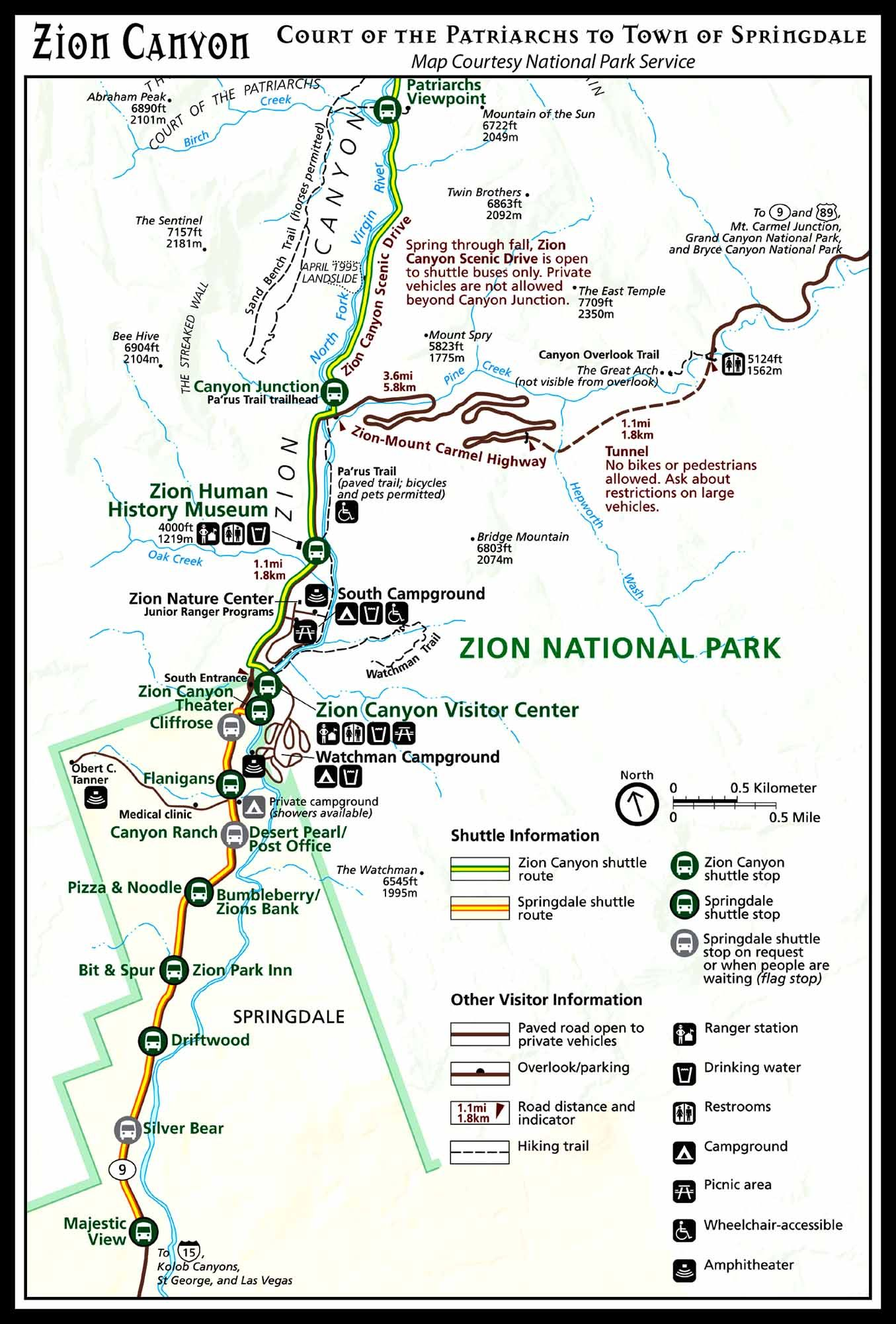 Temple of Sinawava to Canyon Junction Shuttle Map | Vacation ... on