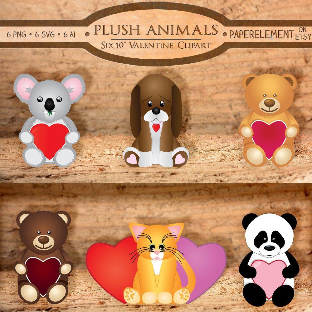 Plush Animal Clipart Stuffed Animal Clipart Valentine Etsy Plush Animals Puppy Clipart Teddy Bear Clipart