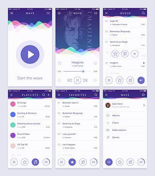 user interfacesmart phone Music app design, App ui
