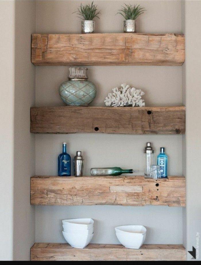 Leuke houten balken als plankjes - Interieur | Pinterest - Houten ...