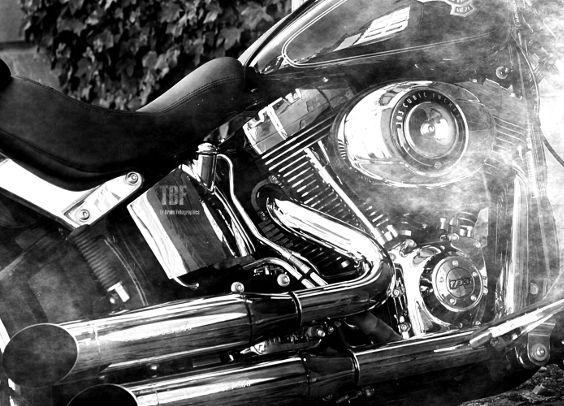 Harley Softail FLSTF Softail Fat Bob Engine Close up