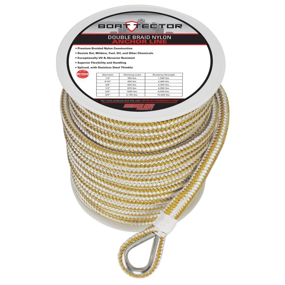 Extreme Max BoatTector Premium Solid Braid MFP Anchor Line with Thimble