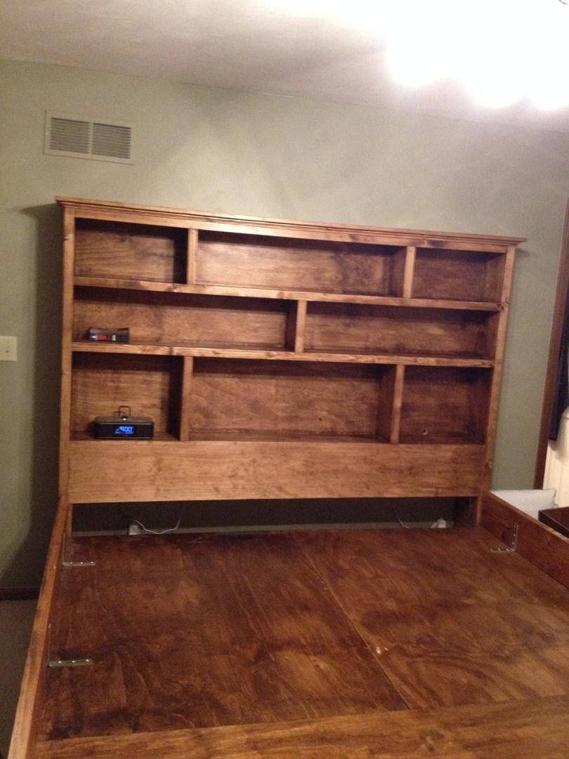 Solid wood king sized Captains Bed with Full Bookshelf