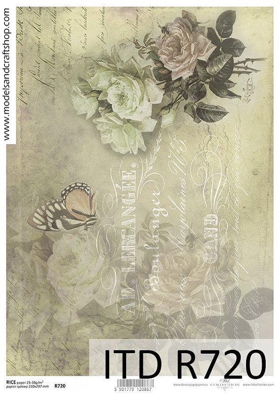 Scrapbook hoja Papel De Arroz Diseño Vintage Para Decoupage papel del arte