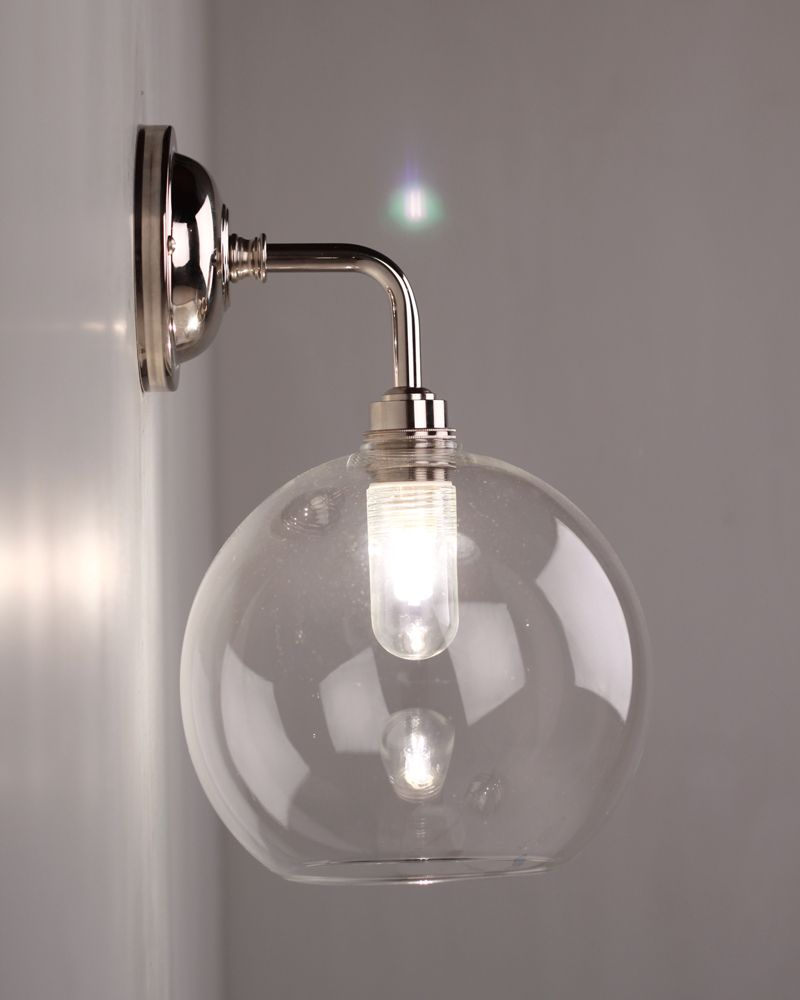 hereford clear glass globe contemporary bathroom wall light - Designer Bathroom Lights