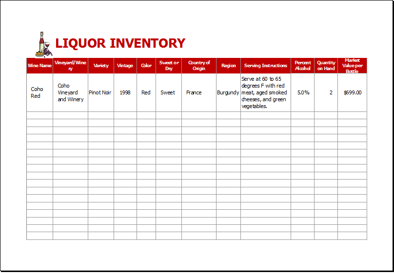 Liquor Inventory Sheet Download At HttpWwwXltemplatesOrg