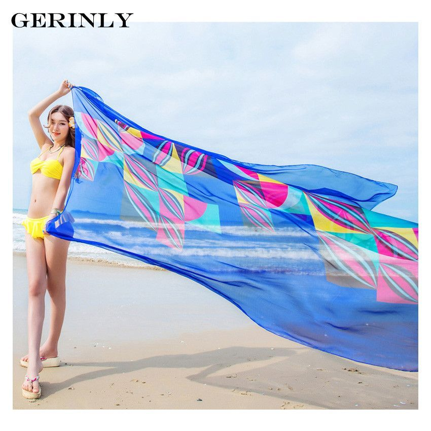 49841f56a2d9b Item Type: Scarves Pattern Type: Geometric Print Scarves Type: Sarong  Material: Chiffon Scarves Length: >175cm Weight: 100g Style: Beach Wrap  Color: Blue, ...