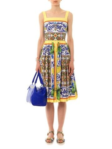 Lemon Sicilian-print full-skirt dress | Dolce & Gabbana | $1,220.00