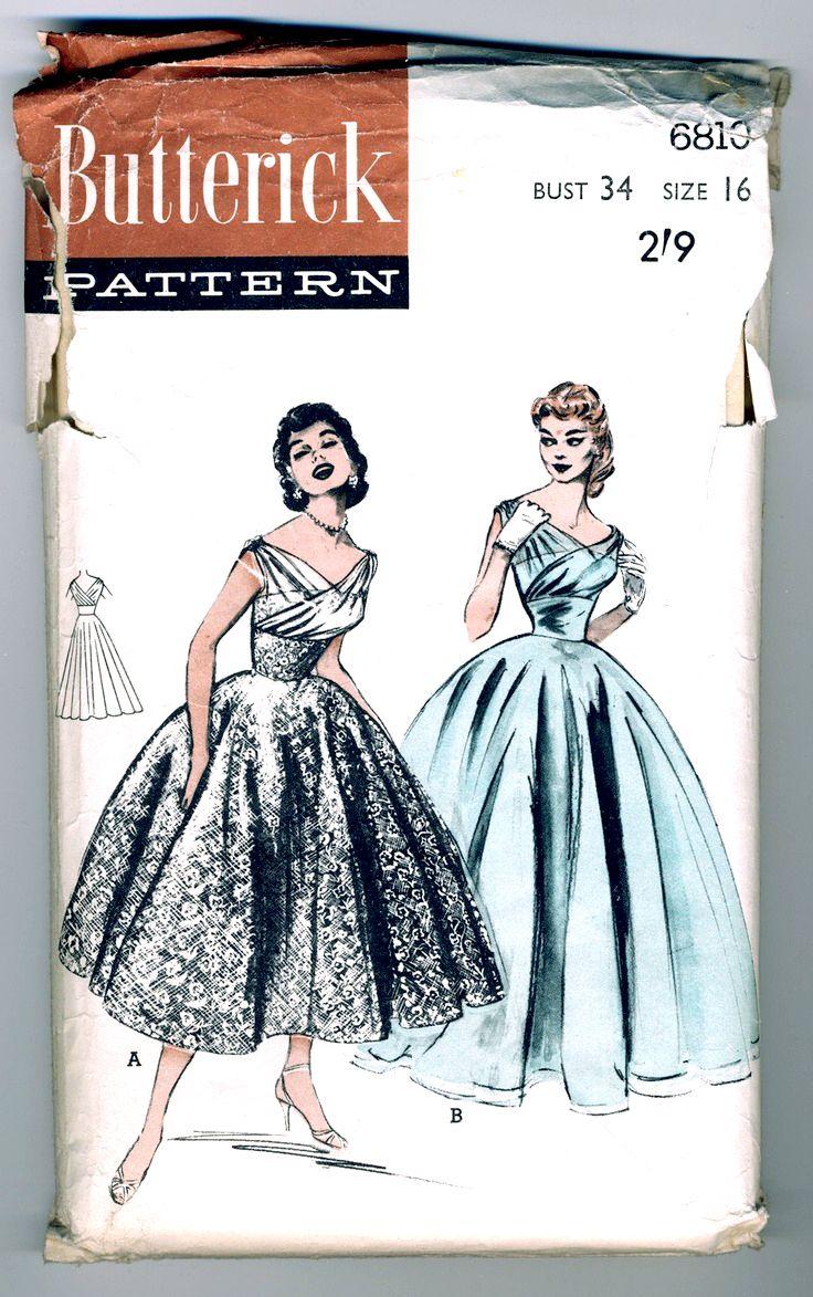 Butterick 1950\'s Ballerina or Full Length Evening Dress #6810 | Sew ...