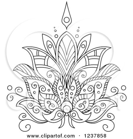 Clipart Of A Black And White Henna Lotus Flower 7 Royalty Free Vector Illustration By Seamartini Graphics Flower Henna White Henna Designs White Henna Tattoo