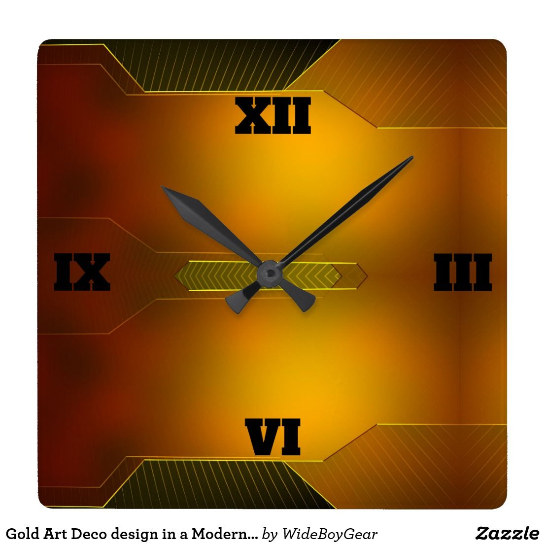Gold Art Deco design in a Modern Style Square Wall Clock | Wall ...
