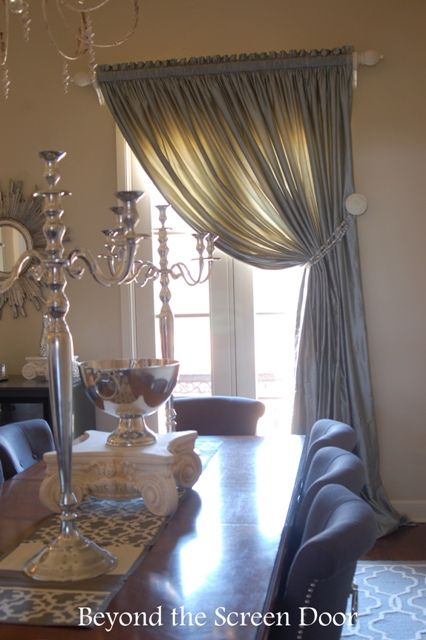 Silk Dining Room Window Treatment With Beaded Tieback  Beyond The Classy Dining Room Window Treatments Inspiration Design