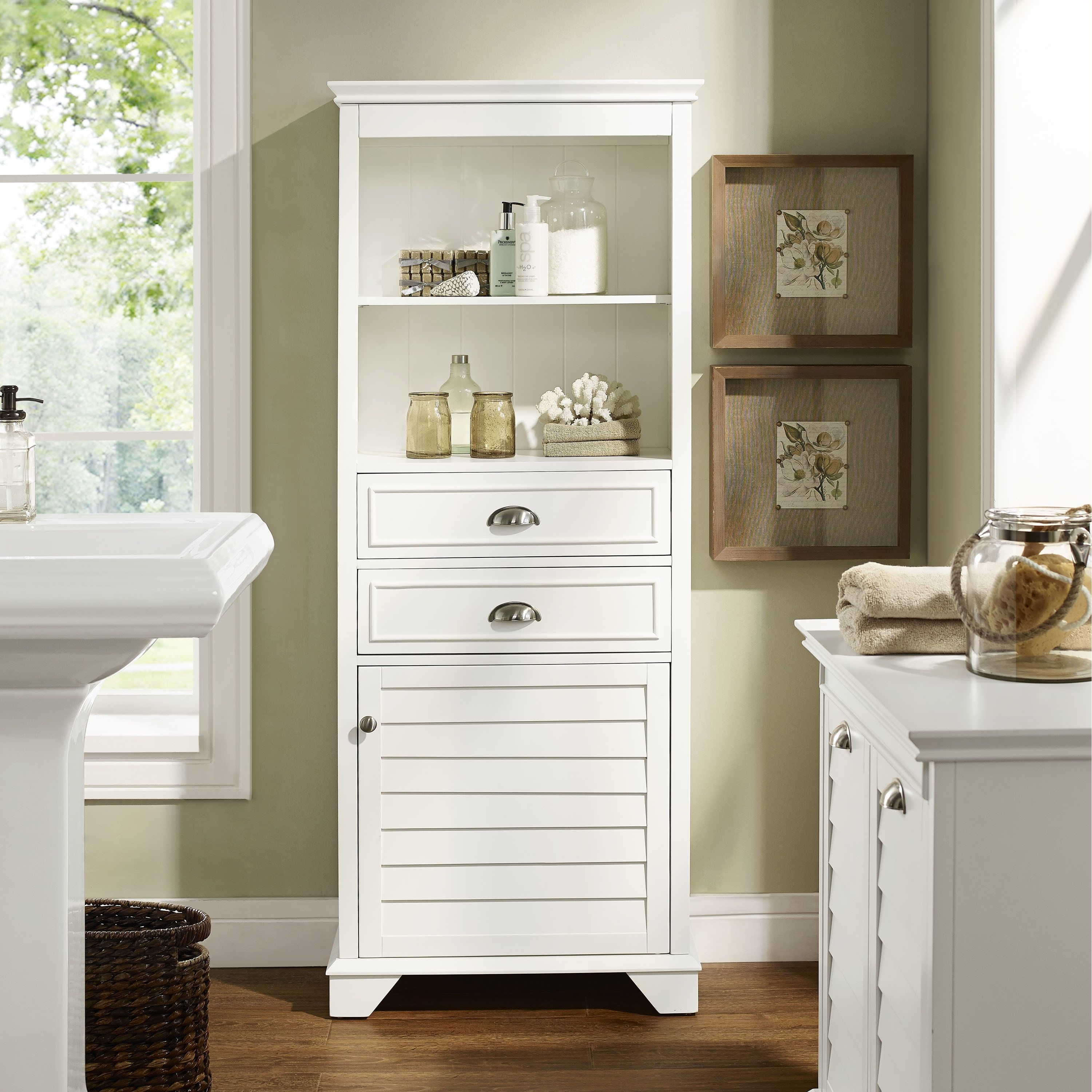 Crosley Furniture Lydia Tall Cabinet in White (Lydia Tall Cabinet in ...