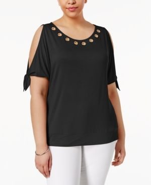f6caea0132a Belldini Plus Size Grommet Cold-Shoulder Top - Black 1X
