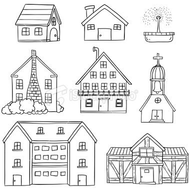 Houses Collection In Line Art Style Black And White Black And White Art Drawing Black And White Illustration House Doodle