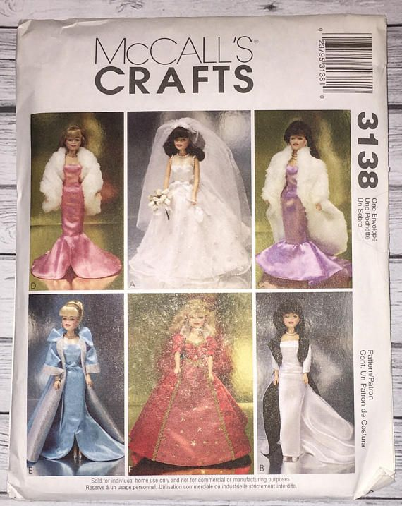 Mccalls Crafts 3138 Wedding Dress Strapless Gowns Fashion Doll ...