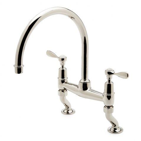 Easton Classic Two Hole Bridge Gooseneck Kitchen Faucet, Metal Lever ...