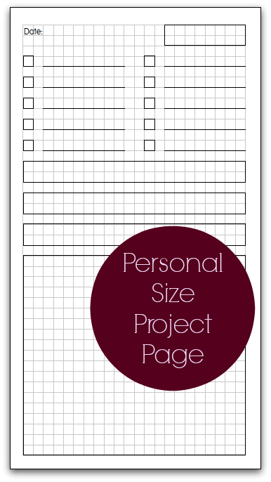 Planner Fun - free inserts, links, hacks & fun: Personal Size Project Page [printable]