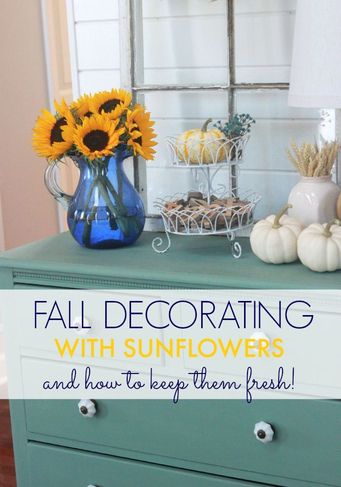 Decorating with sunflowers and how to keep them fresh. I would have never thought of using this household item to preserve my cut flowers!