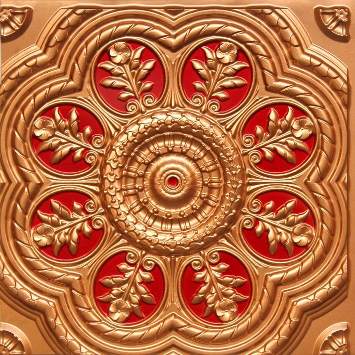 """Decorative Tin Tiles Brilliant Standrews Garden  Faux Tin Ceiling Tile  Glue Up  24""""x24 Design Decoration"""