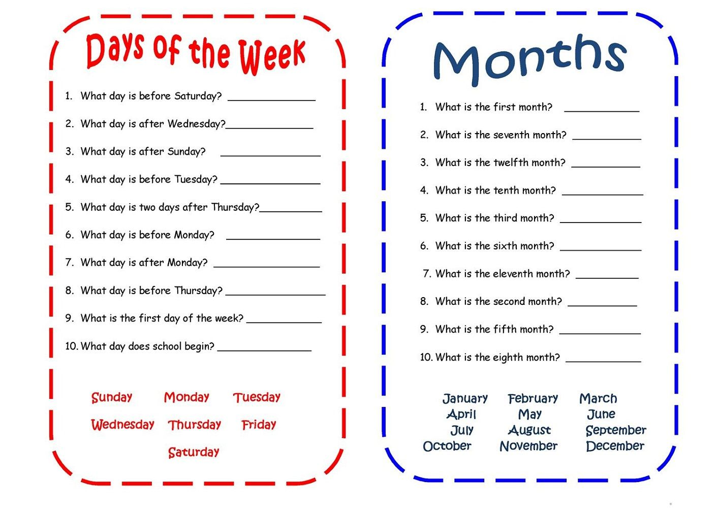 Days Of The Week Worksheets For Kids