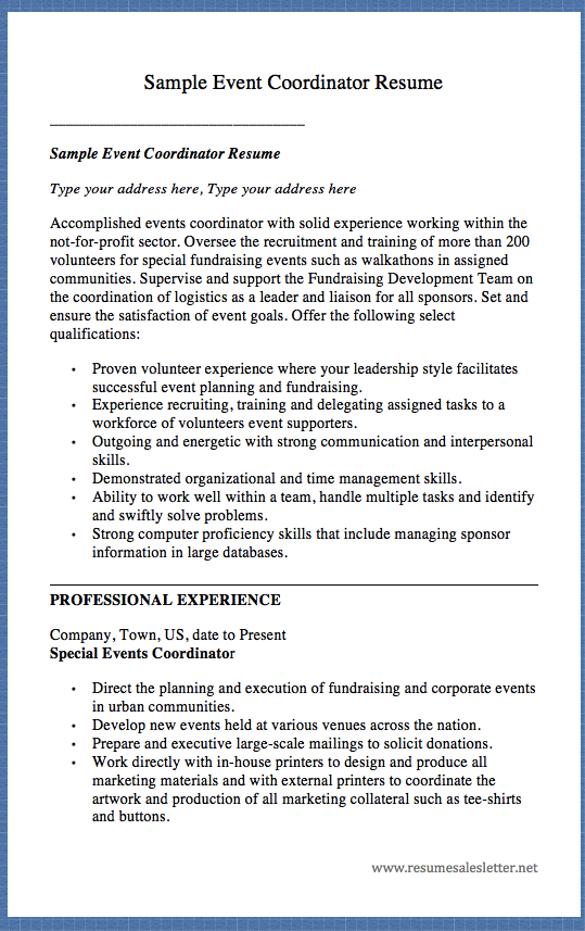 Sample Event Coordinator Resume Sample Event Coordinator Resume Type ...