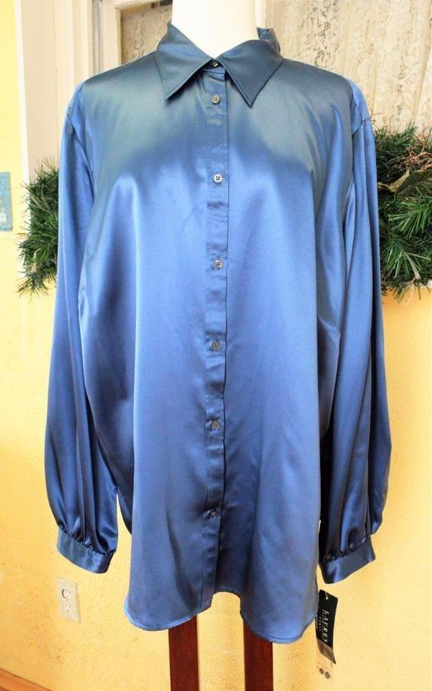 f06c863bdb0b55 Lauren Ralph Lauren Classic Career Liquid Silk Blouse Shirt Top 22W Blue  Plus #LaurenRalphLauren #Blouse #CareerPartyChurch