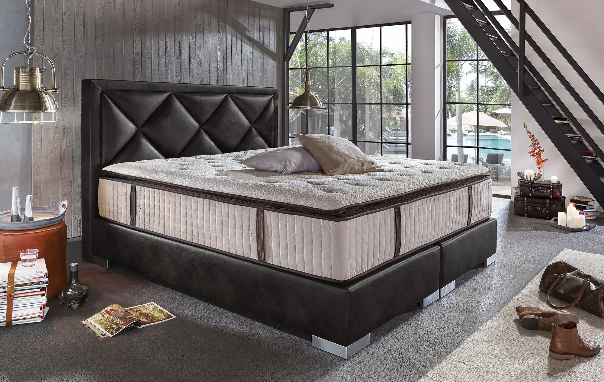boxspringbett joker deluxe schwarz boxspring modern pinterest bett schlafzimmer und. Black Bedroom Furniture Sets. Home Design Ideas