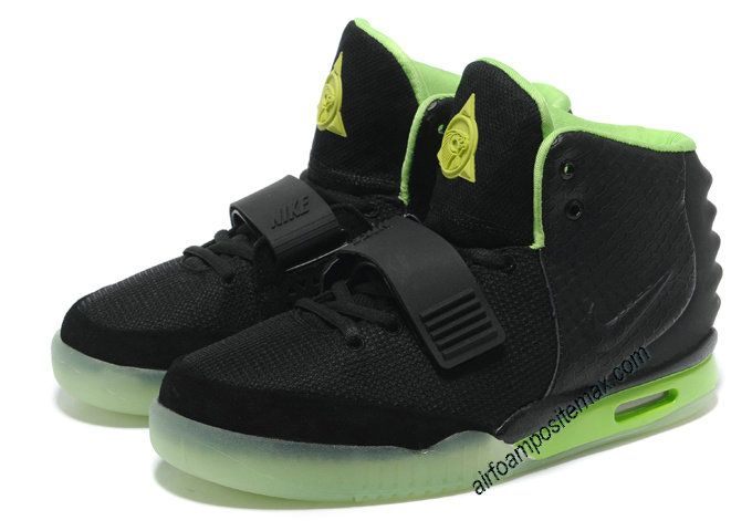 be83bc55d88eb Fake Air Yeezy 2 Nike Shoes Black Lime Green Pure Platinum Glow in The Dark   Black  Womens  Sneakers