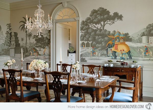 20 Conventional Dining Rooms With Wallpaper Murals Home Design Lover Dining Room Wallpaper Dining Room Murals Dining Room Style
