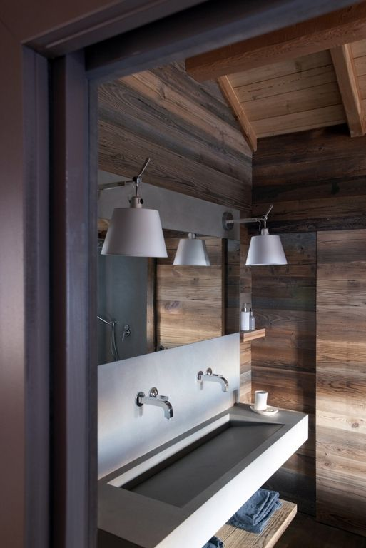 Cocooning chalet martine haddouche chalet cocooning pinterest salle salle de - Salle de bain moderne bois ...