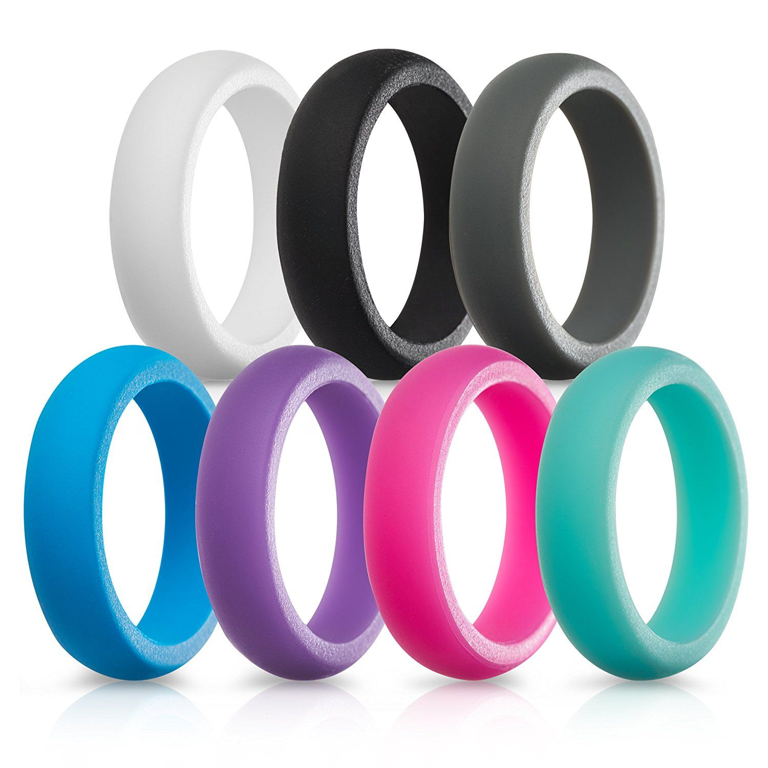 Amazoncom Silicone Wedding Rings For Women 7 Pack Sports
