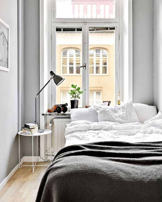 Tiny Grey And White Apartment Bedroom Interior Design Small Decor For