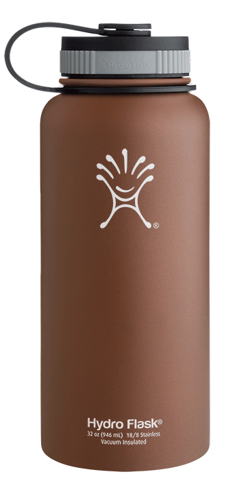 HYDRO FLASK 32oz WIDE MOUTH  COPPER BROWN - The 32 oz insulated Hydro Flask takes the most sought-after water bottle size in the outdoor industry to the next level. This classic size has long been the most popular among outdoor enthusiasts due to its ideal capacity for people on the go. Now with Hydro Flask's double wall vacuum insulation technology, drinks will stay cold up to 24 hours or hot up to 12.