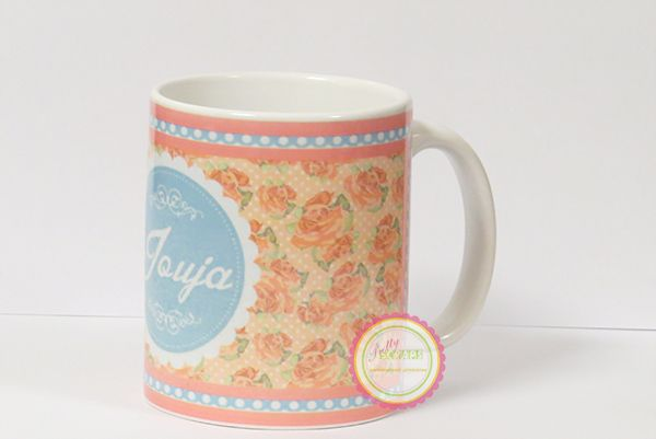 folral and polka mug design