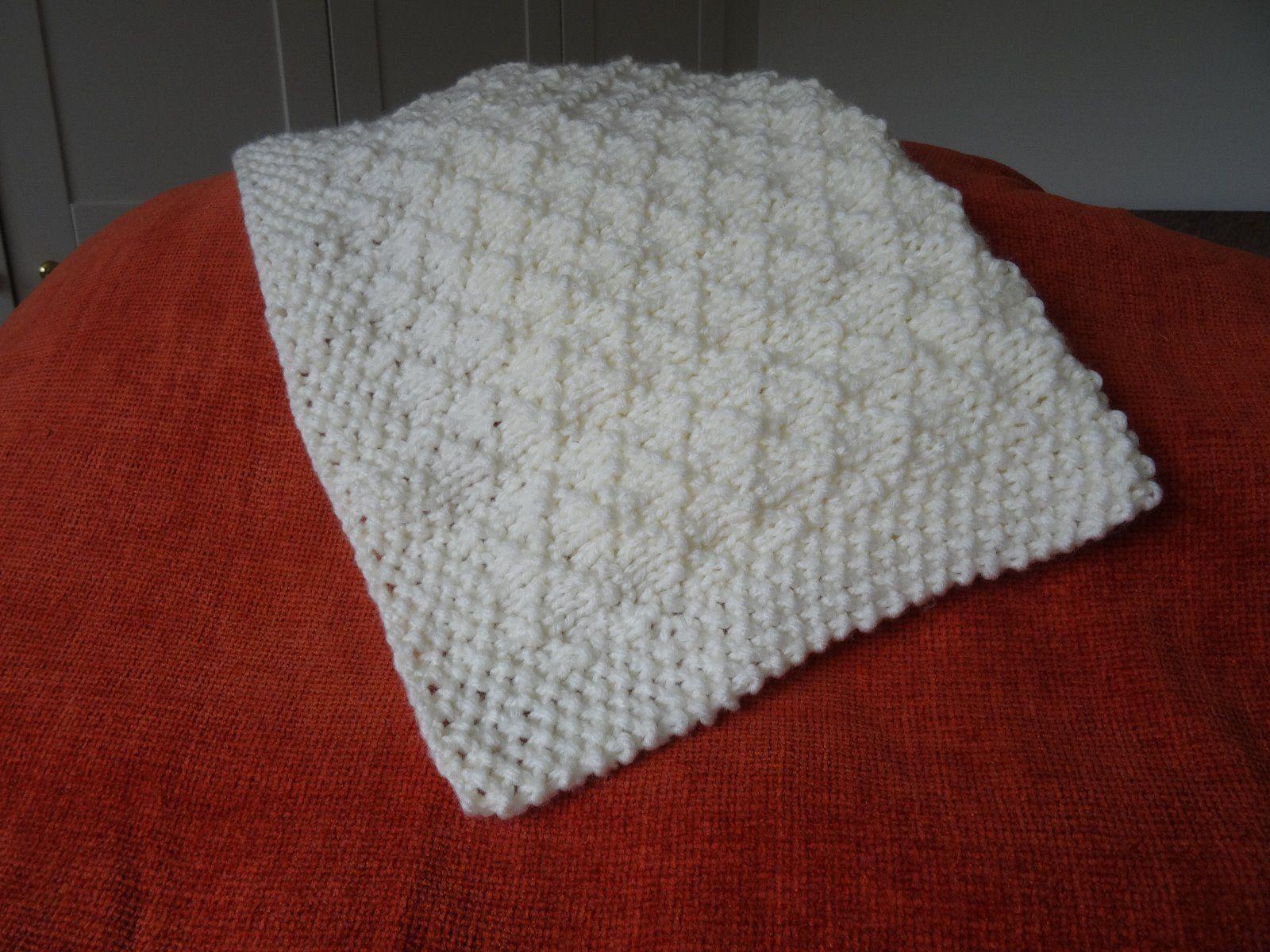 Baby Blanket Easy Knitting Pattern Super Chunky Criss Cross | eBay ...