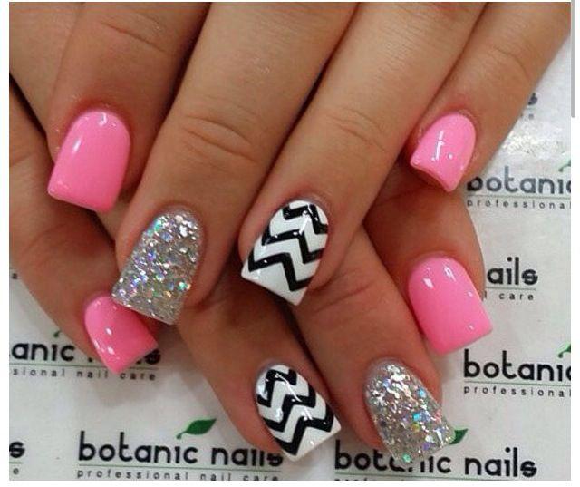 Black white stripes chevron print hot pink glitter sparkles nail black white stripes chevron print hot pink glitter sparkles prinsesfo Gallery