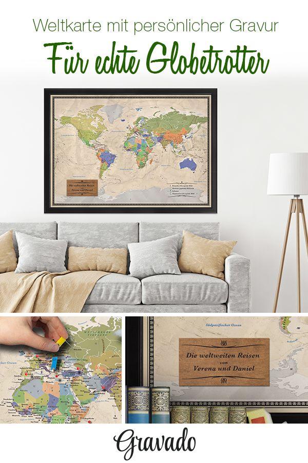 Unsere Edle Reiseweltkarte Deluxe Ist Ein Tolles Geschenk Für Globetrotter!  Die Weltkarte