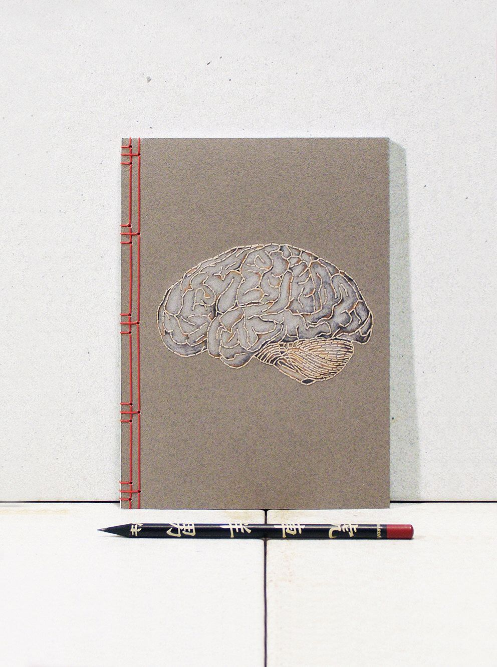 Brain Anatomy Journal. Embroidered A5 Notebook. Brain Book. Science ...
